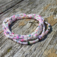 Pastel Multicolor Stretch Bracelets, Set of Five, Seed Bead Stretchy Jewelry