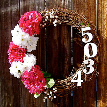 "Personalized 18"" Wreath, Hydrangea Wreath, Front Door Decor, Address Wreath, Year Round Wreath, Etsy Wreath, Spring Wreath"
