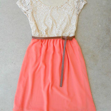 Lace & Peach Dress [5898] - $35.70 : Vintage Inspired Clothing & Affordable Dresses, deloom | Modern. Vintage. Crafted.