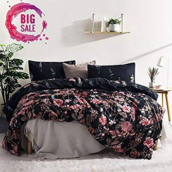 Leadtimes Kids Flower Duvet Cover Set, Girls Floral Leaf Black Bedding Set with Soft Lightweight Microfiber 1 duvet cover and 1 Pillow Sham by (Twin, Style8)