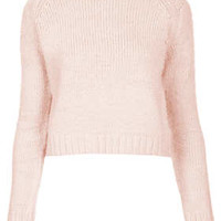 Knitted Fluffy Crop Jumper - Soft Pink