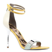 Same Edelman Heels Allie Sandal in Mint, White, and Yellow