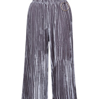 Silver High Waist Velvet Pleated Palazzo Pants