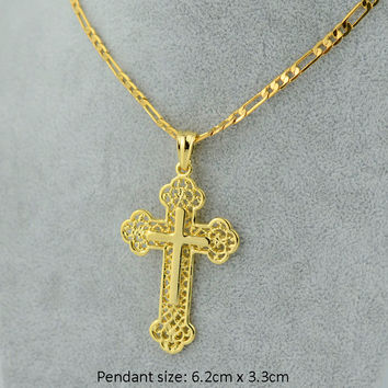 "Gold cross chain men crucifix necklace pendant women 24"" 18"" chain big jesus - yellow gold filled christian catholic jewelry"