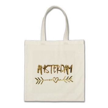 Amsterdam Heart Arrow Elegant Gold Look Typography Tote Bag