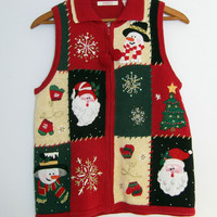 Ugly Christmas Sweater Cardigan Vest Knit Santa Snowman Small