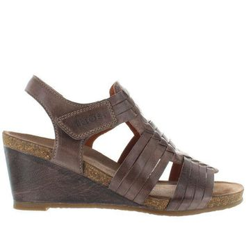 Taos Tradition   Dark Taupe Leather Huarache Style Wedge Sandal