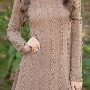 Fall Festival Long Sleeve Scoop Neck Cable Pattern Pullover Sweater Tunic Casual Mini Dress - 5 Colors Available