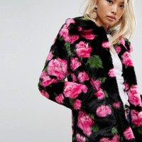 Jakke Mid Length Faux Fur Coat In Floral Print at asos.com