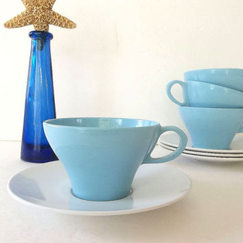 Vintage FOUR Texas Ware Melamine coffee tea cups & saucers sets Blue White Retro Mid Century teacups kitchenware glamping picnic dinnerware