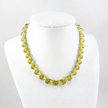 Art Deco Sterling Silver Necklace Yellow Crystal Citrine Glass Bridal Wedding Choker Gold Vermeil Jewelry
