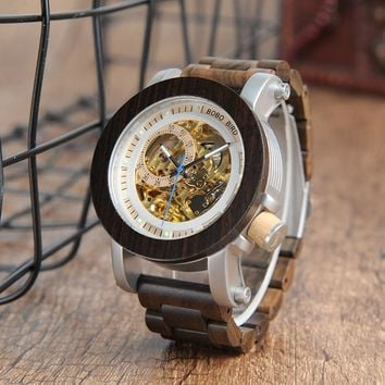 Wood & Steel Exposed Bronze Skeleton Wooden Watch