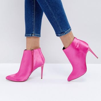 New Look Satin Heeled Ankle Boot at asos.com