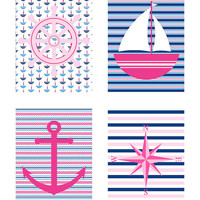 Navy and Pink 5x7 Collection for Home Decor - Pink, Navy, White - Sailboat, Anchor, Compass, Wheel - Colorful, Nursery, Girls Room, Sailor