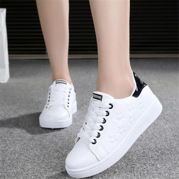 2017 Spring Women Sneakers white Running shoes jogging Woman Sport Shoes star Leather arena Athletic shoes Walking Light soft N3