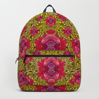 Fantasy-flowers to brighten up in gold Backpack by Pepita Selles