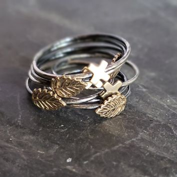 Oxidized Sterling & Brass Stacking Rings - Leaves & X's