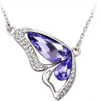 Swarovski Element Purple Dancing Butterflies Crystal Necklace