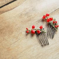Cherry Blossom Hair Combs RUBY Set of Two by alexandragrecco