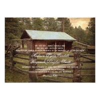 Rustic Log Cabin Country Wedding Invitations