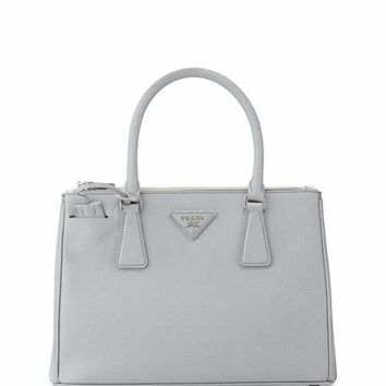 Prada Saffiano Lux Double-Zip Tote Bag, Light Gray (Gratino)