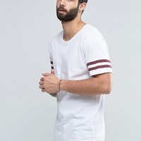 Only & Sons Longline T-shirt with Arm Stripes and Curved Hem at asos.com