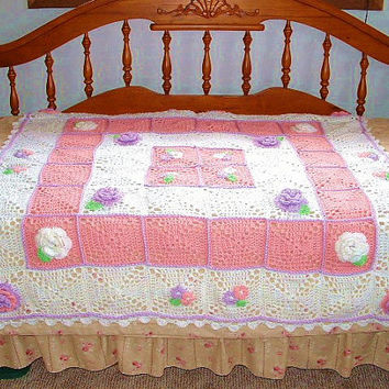 Pink Crochet Afghan With Flowers Granny Square Purple Roses White Trim