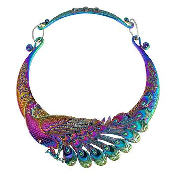 Iridescent Peacock Statement Necklace