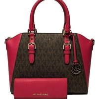 DCCKUG3 MICHAEL Michael Kors Ciara Large TZ Satchel bundled with Michael Kors Jet Set Travel Flat Wallet