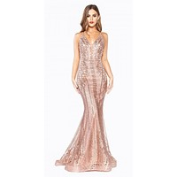 Floor Length Fitted Dress Rose Gold Art Deco Glitter Print Open V-Back