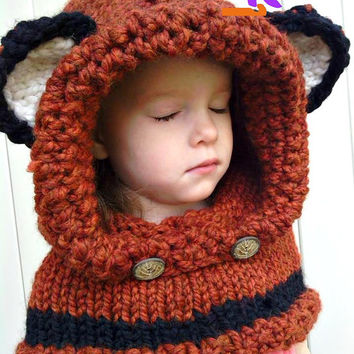 Knitted Hooded Fox Cowl, Winter Toddler Scarf, Orange Black White Fall Photo Prop