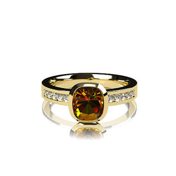 Cushion cut Citrine ring, engagement ring, diamond engagement, Yellow, citrine, orange, bezel, solitaire, unique, rose gold, white, yellow