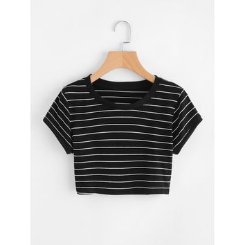Striped Ringer Crop Tee Black and White
