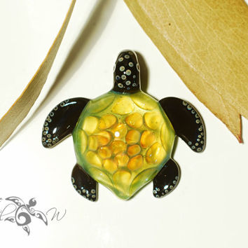 Enlightened Honeycomb Turtle - Glass Pendant - Handcrafted Necklace- Pure Gold Fuming - Blown Glass Jewelry - Glass Turtle - Artist Signed