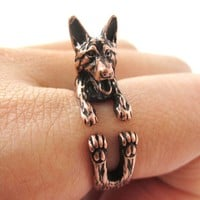 Realistic German Shepherd Shaped Animal Wrap Ring in Copper | Sizes 4 to 8.5