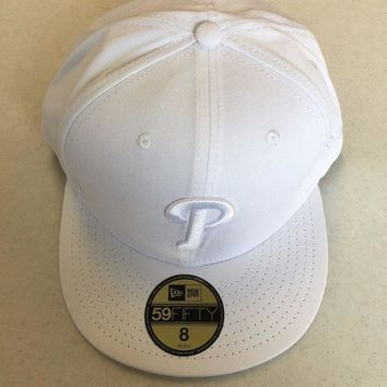 CUPUPI8 BRAND NEW PHILADELPHIA PHILLIES ALL WHITE LOGO NEW ERA FLAT BRIM FITTED HAT
