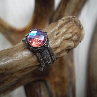 pink mystic topaz stack rings in sterling silver