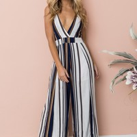 Women Fashion Backless Multicolor Stripe Deep V-Neck Sleeveless Strap Romper Jumpsuit Wide Leg Pants Trousers
