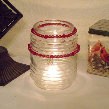 Tea Light Candle Upcycled Recycled Vintage Light Globe with Red Glass Beads