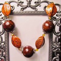 Designer Orange Necklace - Perfect for Fall