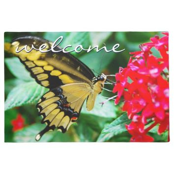 """Welcome"" yellow & black butterfly photo doormat"
