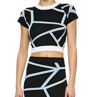 Cropped Geometric-Print Knit T-Shirt,