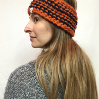 Knit Headband Chicago Bears Colors Orange And Navy Cozy And Warm