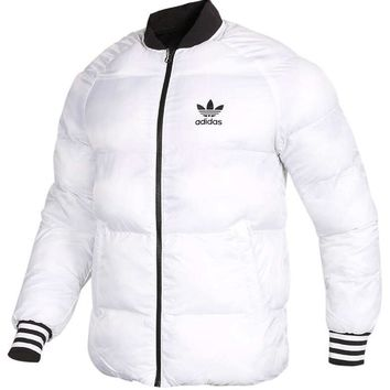 """Adidas"" Winter Loose Women Men Fashion Couple Coat Long Sleeve Cardigan Bread Down Coat Cotton-padded Clothes Jacket Windbreaker(Two Side Wear Reversible) White"