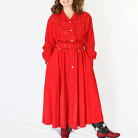 80s shirt dress. Vintage red dress. Western dress. Size Large. Cowgirl dress. Studs dress. Red cotton dress