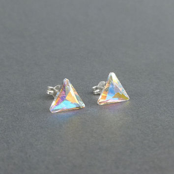 sweet super sparkly swarovski crystal triangle stud earrings