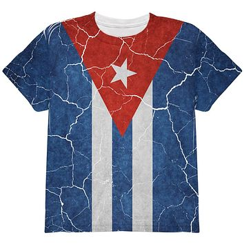 Distressed Cuban Flag All Over Youth T Shirt