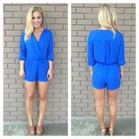 Royal Blue Madison 3/4 Sleeve Romper