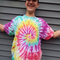 XLarge Tie Dye T-Shirt with Rainbow Colors, Adult XL TieDye Tee, Hippie Shirt, Retro, Mens Tie-dye TShirt, Plus Size, Big and Tall