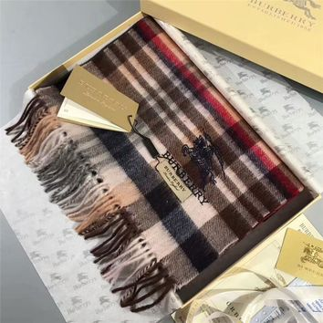 """Burberry"" Women Temperament Fashion Classic Multicolor Stripe Tartan War Horse Embroidery Tassel Wool Shawl Scarf"